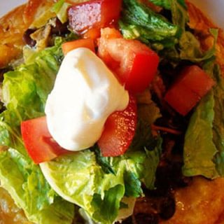 top view of a tostada with all the toppings