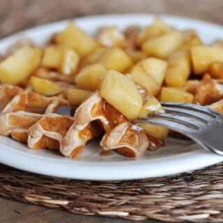 Apple Cinnamon Waffles with Cinnamon Syrup