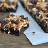 Pretzel and Toffee Peanut Butter Chocolate Brownies