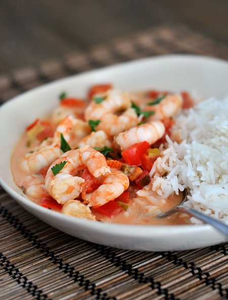 Garlic Shrimp in Coconut Lime Tomato Sauce {Quick and Healthy Dinner!}