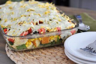 Layered Mexican Cornbread Salad