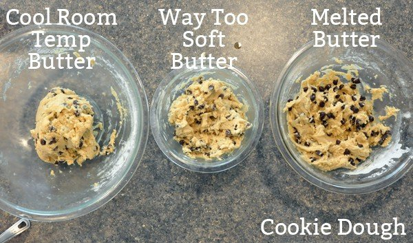 three glass bowls of chocolate chip cookie dough with different consistencies