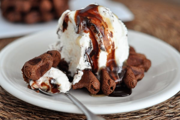 a chocolate waffle cookie topped with a scoop of vanilla ice cream and chocolate sauce on a white plate