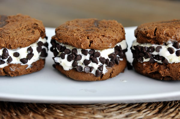 Chocolate Pumpkin Cookie Ice Cream Sandwiches