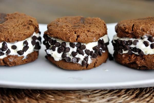 Chocolate Pumpkin Cookie Ice Cream Sandwiches
