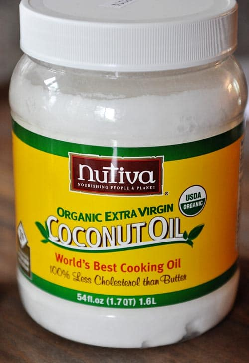 plastic jar of organic extra virgin coconut oil