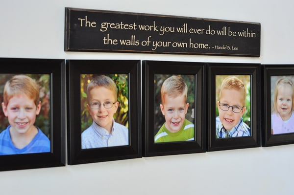five framed pictures of little kids