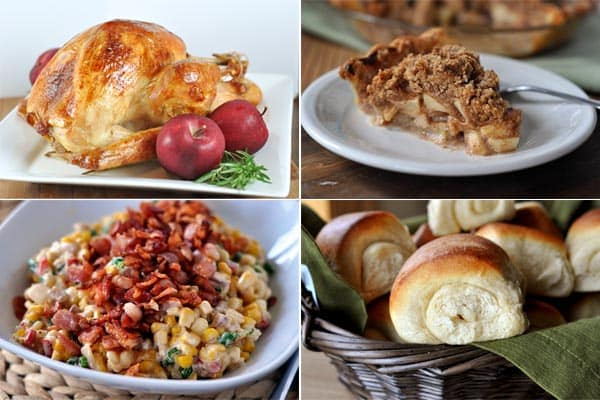 a collage of pictures of Thanksgiving foods