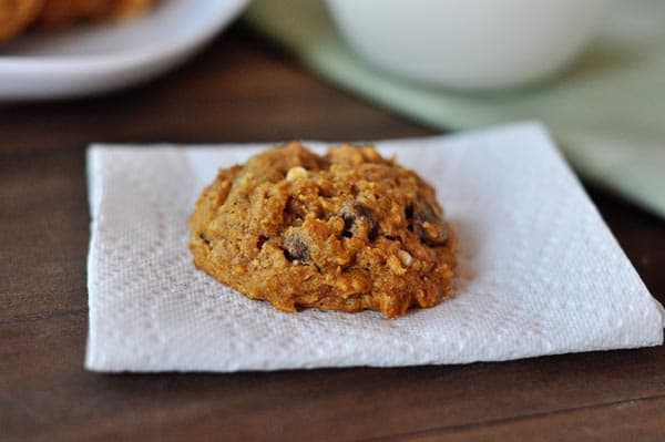 a fluffy chocolate chip pumpkin oat cookie on a napkin