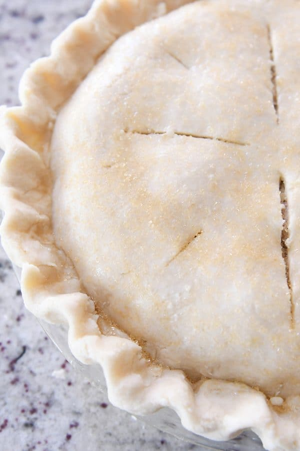 fluted pie crust with slits on top