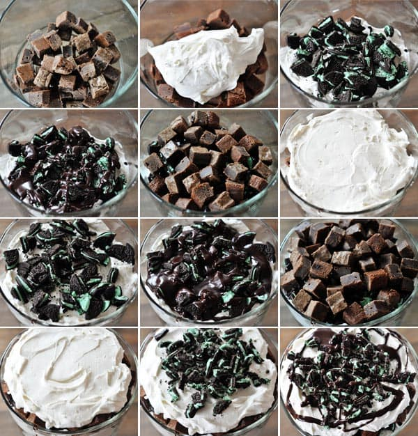 collage of pictures showing how to make a brownie Oreo trifle