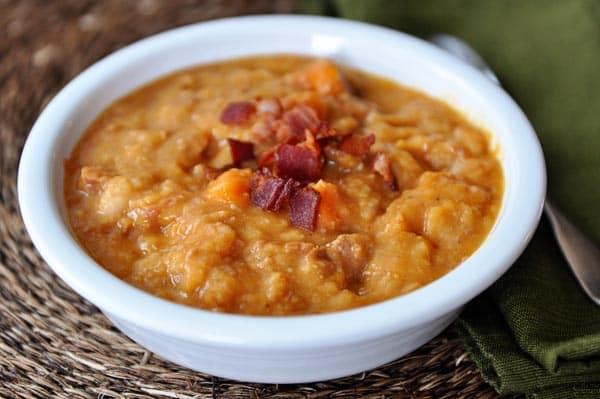 Slow Cooker Sweet Potato, Ham and Bean Soup