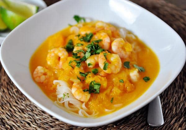Butternut Squash Coconut Curry Soup over Rice Noodles