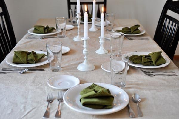 a nice candelit set dinner table