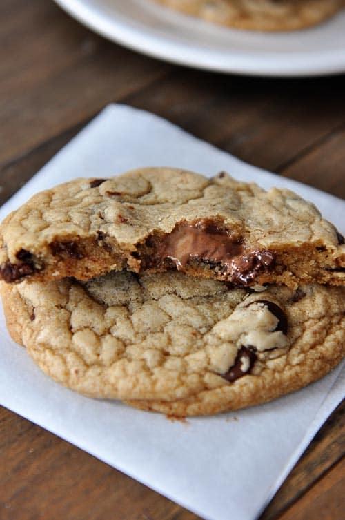 Swirled Nutella and PB Stuffed Chocolate Chip Cookies