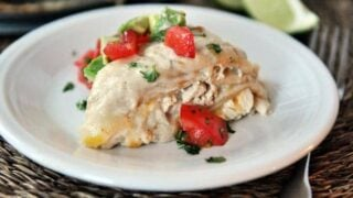 Green Chile Chicken Enchilada Stack