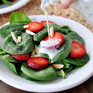 Spinach Strawberry Salad with Homemade Creamy Poppy Seed Dressing