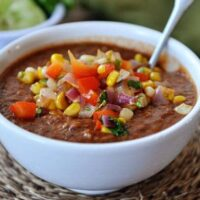 Fire-Roasted Tomato and Black Bean Soup with Fresh Salsa