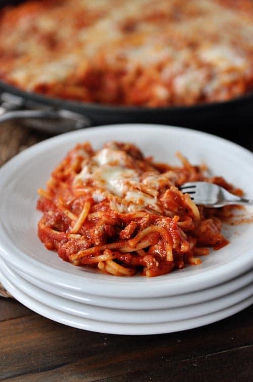 Skillet Baked Spaghetti