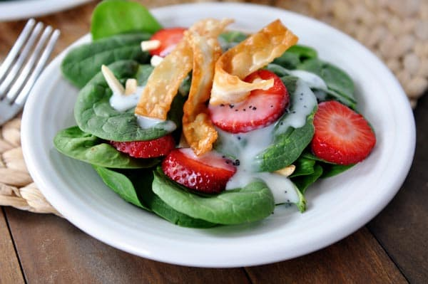 Strawberry Spinach Salad with Homemade Creamy Poppy Seed Dressing