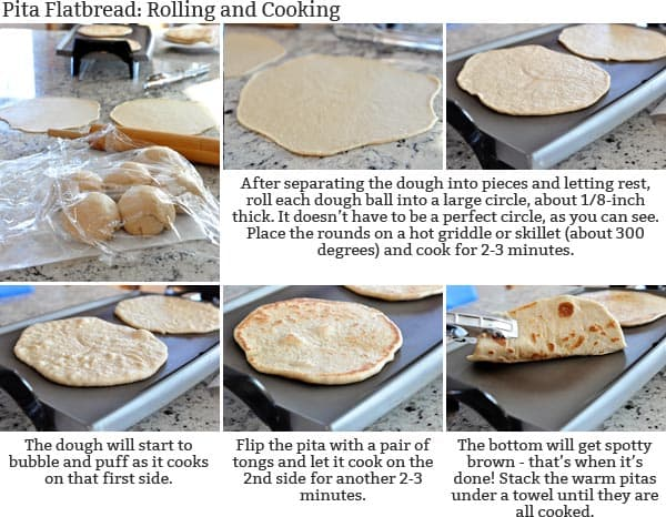 Pita flatbread step-by-step instructions with pictures and text for rolling and cutting the dough.