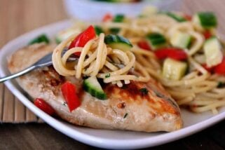 Grilled Asian Chicken with Peanut Noodles and Cucumber Sambal