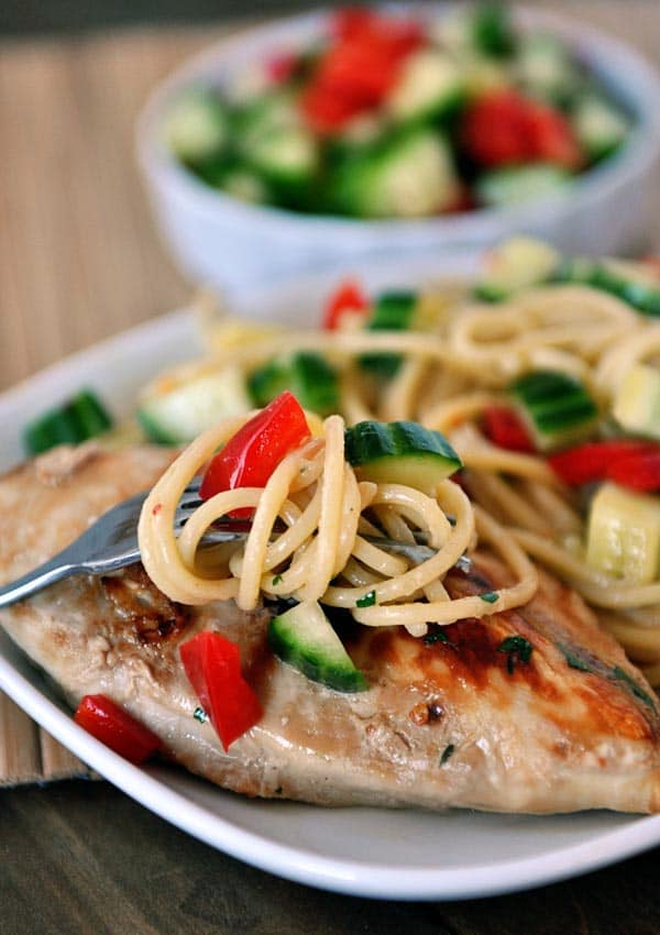 Grilled Asian Chicken with Peanut  Noodles