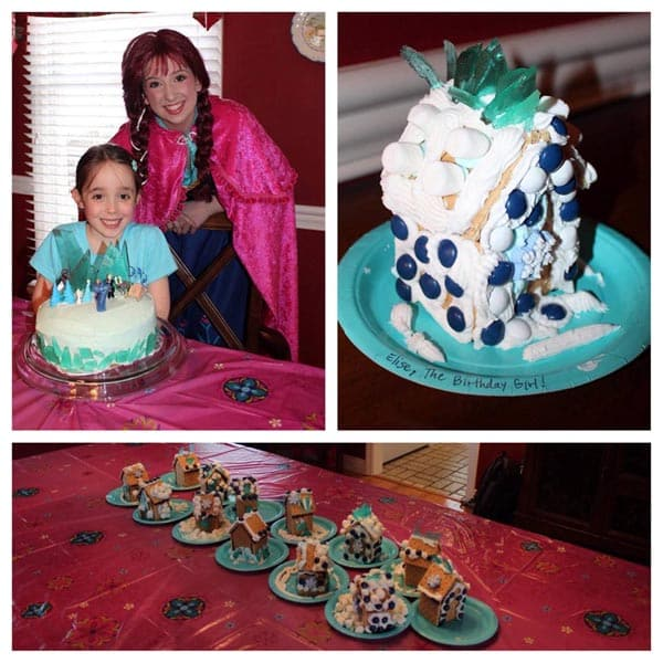 collage of pictures of decorated Frozen-themed gingerbread houses