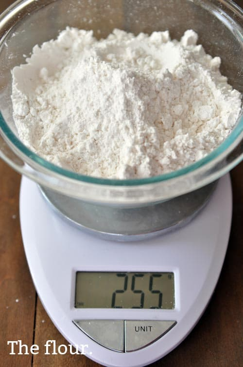 weighed flour