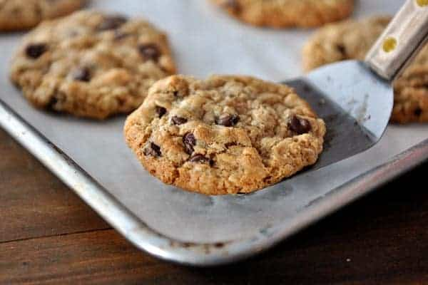 a metal spatula taking a chocolate chip cookie off of a cookie sheet with other baked cookies