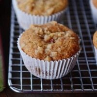 Rhubarb Muffins with A Little Bit of Streusel On Top