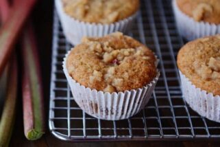Brown Sugar Rhubarb Muffins with A Little Bit of Streusel On Top