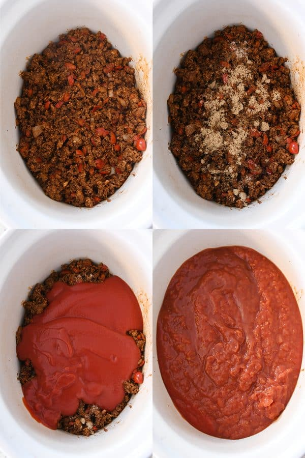 assembling slow cooker chili in white slow cooker