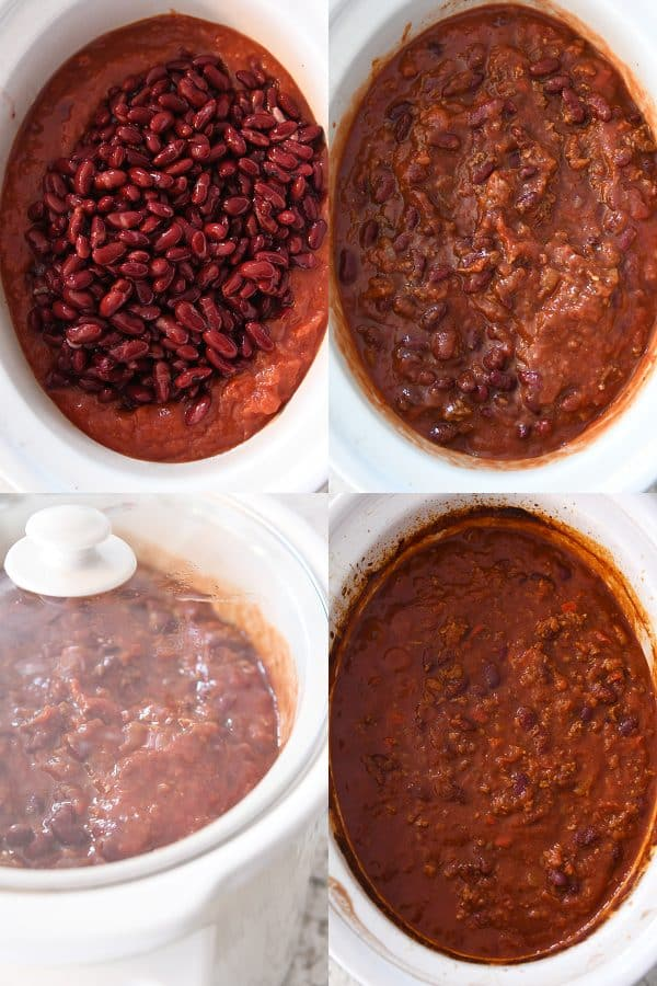 assembling and cooking slow cooker chili