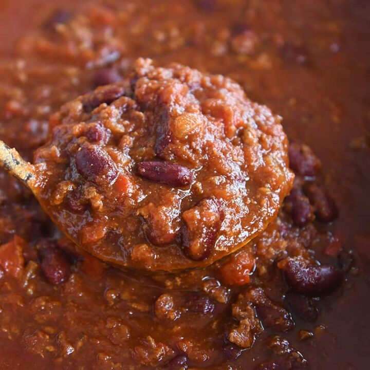 ladle of classic slow cooker chili