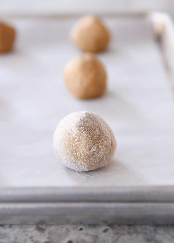 ginger molasses cookie dough balls rolled in sugar