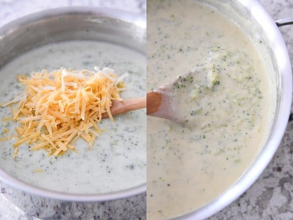 stirring cheese into broccoli cheese soup