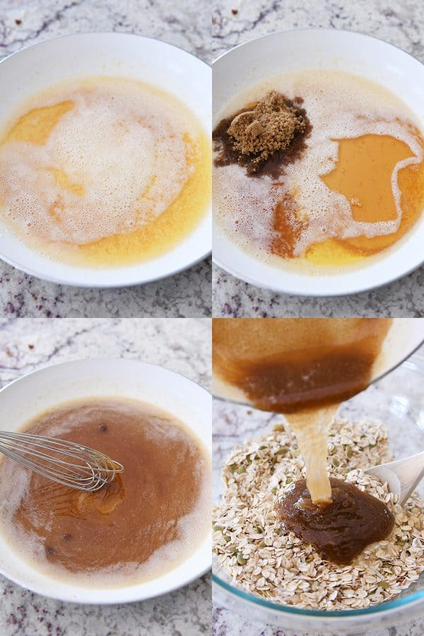 step by step of brown butter, adding sugar to butter, pouring syrup over granola ingredients