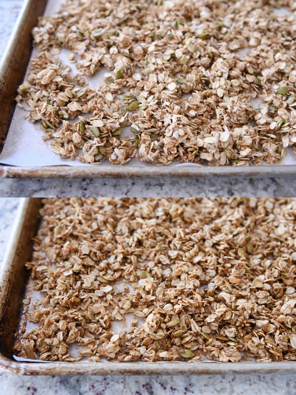 unbaked brown butter pecan granola and then a lower picture of baked granola