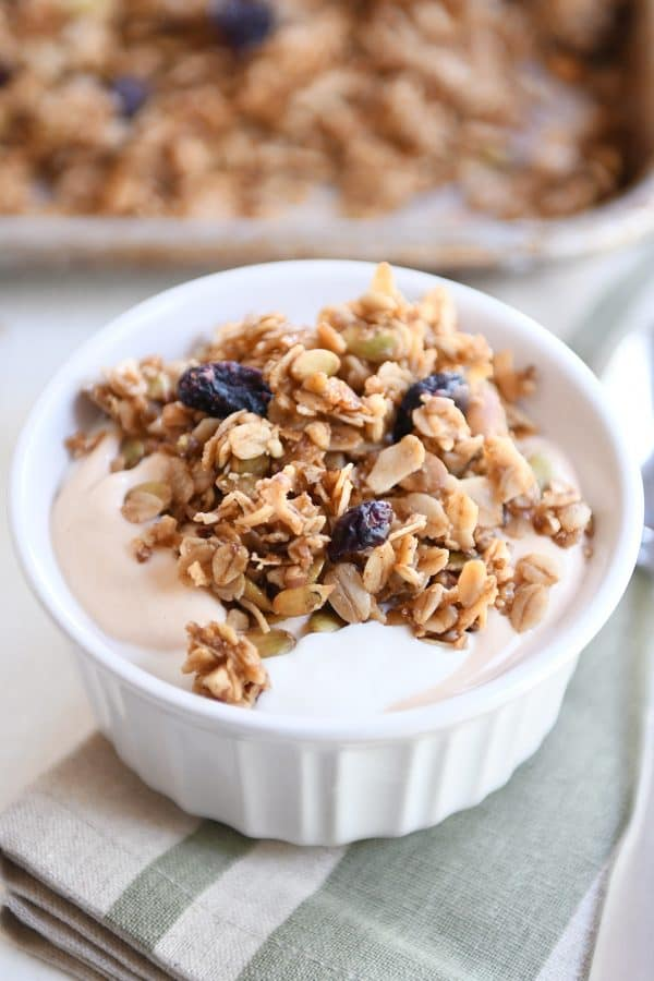 white bowl with yogurt and brown butter pecan granola and craisins