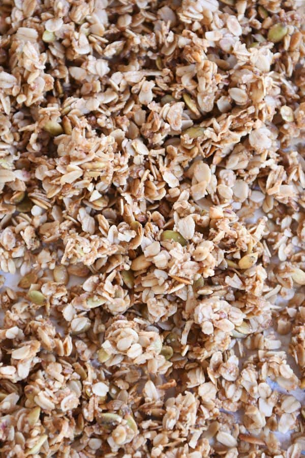 Sheet pan filled with brown butter pecan granola