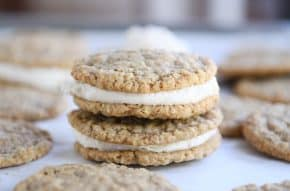 Two homemade oatmeal cream pies stacked on each other.