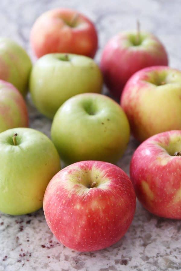 Granny Smith and honey crisp apples.