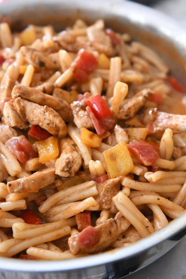 Skillet chicken fajita pasta completely made and combined.