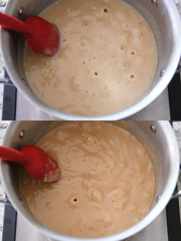 Making homemade caramel or dulce de leche