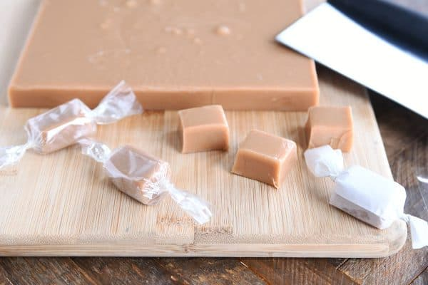 cutting and wrapping homemade caramels