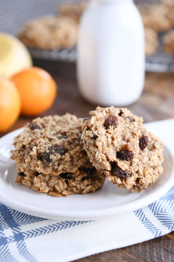 baked healthy breakfast cookies on white plate