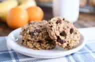 baked healthy breakfast cookies on white plate