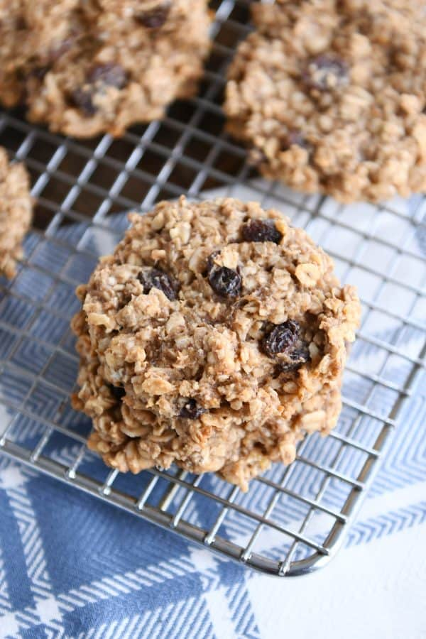 stack of healthy breakfast cookies on wire cooling rack