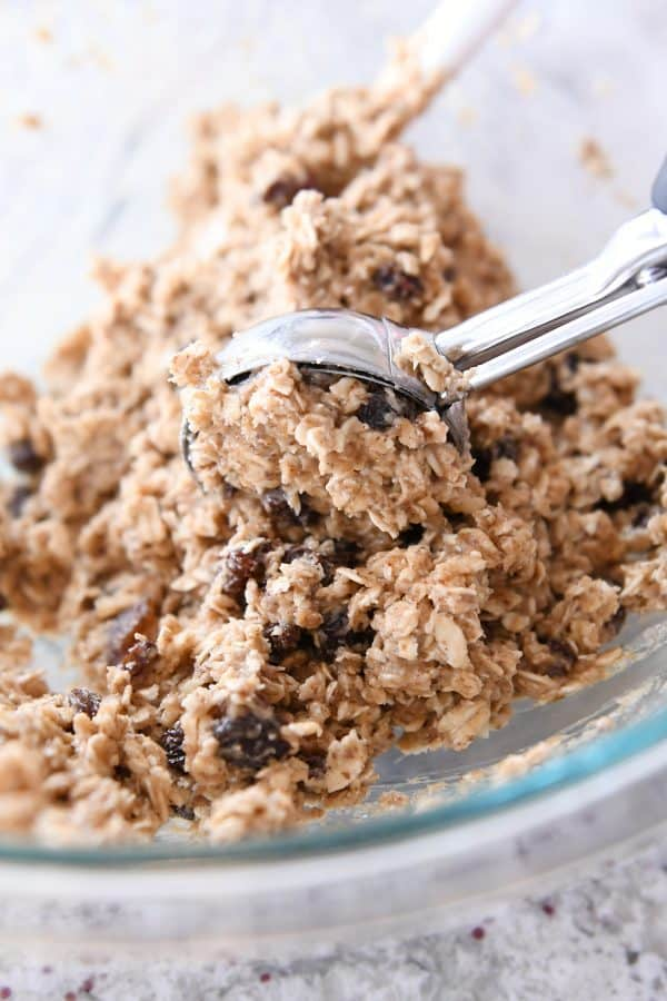 scooping out healthy breakfast cookie dough with cookie scoop